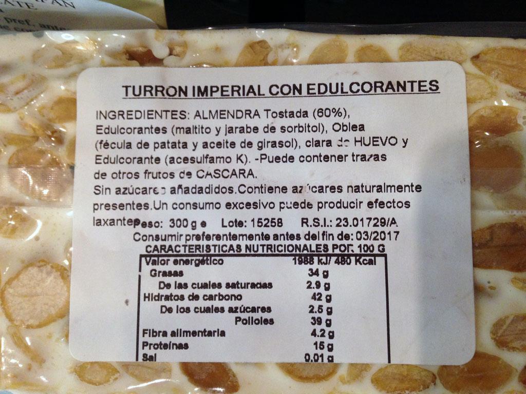 Etiqueta Turrón de Alicante sin azúcar